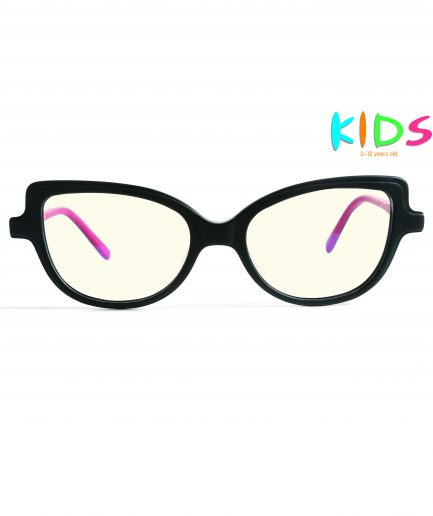 black cateye kids blue light glasses