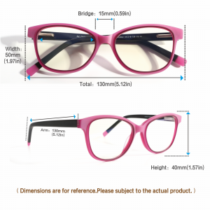 kids blue light blocking glasses girls pink measurement